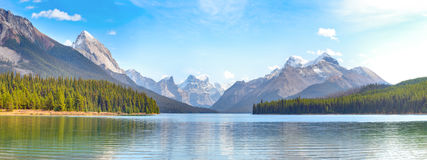 Maligne Lake panorama view Stock Photos
