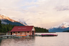 Maligne lake in the Rockies. Maligne lake at sunset, Jasper national park, Canada Stock Photos