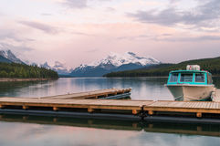 Maligne lake in the Rockies. Maligne lake at sunset, Jasper national park, Canada Stock Images