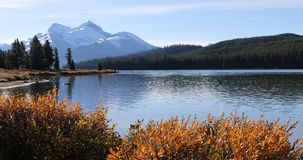 Maligne Lake view in the Rocky Mountains. Maligne Lake in the Rocky Mountains Stock Photos