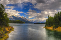 Maligne Lake. Scenic Maligne Lake and trout spawning river in the Canadian Rocky Mountains Jasper National Park, Alberta Royalty Free Stock Photography