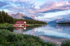 Maligne Lake at Sunset, Jasper National Park, Alberta, Canada royalty free stock image