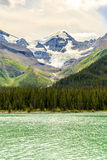 Maligne Lake. Unwin Glacier in Queen Elizabeth Range, Alberta, Canada Royalty Free Stock Images
