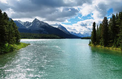 Maligne lake view. A view of Maligne Lake in the Canadian Rockies Stock Image