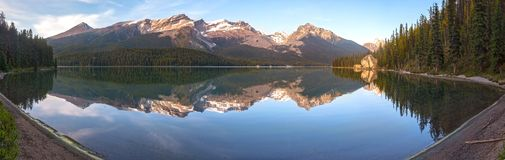 Maligne Lake Wide Panoramic Landscape Jasper National Park Canadian Rocky Mountains royalty free stock photos