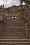 Malik Mughith's Mosque, Mandu, India. Steps leading to the Malik Mughith's Mosque inside the hilltop fortress town of Mandu in Madyha Pradesh, India. Built Stock Photo
