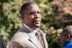 Malik Zulu Shabazz lawyer for Corey Long Arrest at Charlottesville District Court. Charlottesville, Virginia USA October 17, 2017 Corey Long`s arrest for his Royalty Free Stock Images