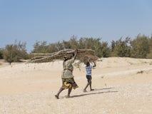 Malika, Senegal †'Lipiec 31, 2014: Niezidentyfikowany matki i syna przewożenia filao rozgałęzia się na ich głowie zdjęcia royalty free