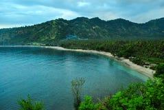 Malimbu海滩在西部龙目岛 库存图片