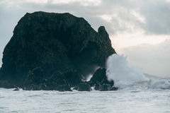 Malin Head, Ireland. Waves crash into rocks at Malin Head in Ireland Royalty Free Stock Photo