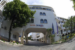 Malin hotel in Malinska on the island Krk in Croatia. Horizontal photo of hotel Malin in Malinska on the island Krk in Croatia in summer day time Royalty Free Stock Images