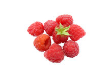 Malina. A lot of the ripe berries of a raspberry on a white background Stock Images