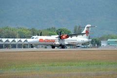 Malindo Air aircraft ATR 72-600. LANGKAWI, MALAYSIA - MARCH 17: Malindo Air aircraft ATR 72-600, Registration name 9M-LMM, take-off at Langkawi airport on 17 stock photography