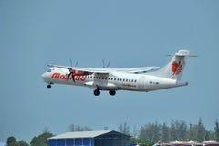 Malindo Air aircraft ATR 72-600. LANGKAWI, MALAYSIA - MARCH 17: Malindo Air aircraft ATR 72-600, Registration name 9M-LMM, take-off at Langkawi airport on 17 Stock Photos