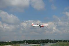 Malindo Air B737 Reg. 9M-LNP (Airplane). A Malindo Air B737 Registration 9M-LNP Before landing at RWY 32L Royalty Free Stock Photos