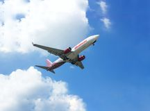 Malindo Airlines in the sky air. Malindo Airlines aircraft in the sky on 25th March 2017 for landing at airport Royalty Free Stock Photos