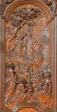 Malines - il sermone scolpito di Gesù sulla scena del supporto da Ferdinand Wijnants nella chiesa o in Janskerk di St Johns Fotografie Stock