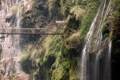 Malinghe waterfall in Xingyi city,Guizhou,China. Hanging bridge at Malinghe waterfall in Xingyi city,Guizhou province in Southwestern of China Royalty Free Stock Photo