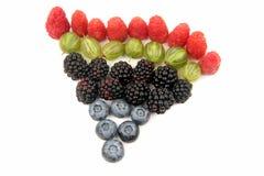 Malinki, agresty, czernicy i czarne jagody na bielu, Obrazy Royalty Free