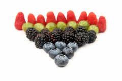 Malinki, agresty, czernicy i czarne jagody na bielu, Fotografia Royalty Free
