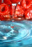 Malinki i świeża woda Fotografia Royalty Free