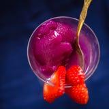 Malinki i lychee sorbet zbliżenie Fotografia Royalty Free