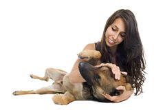 Malinois and girl. Young woman and her purebred belgian sheepdog malinois Royalty Free Stock Photos