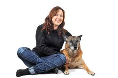 Malinois and woman Royalty Free Stock Photos
