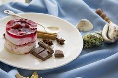Malinowy deser z skorupy błękita tłem Obraz Stock