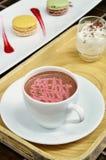 Malinowy gorący kakao fotografia stock
