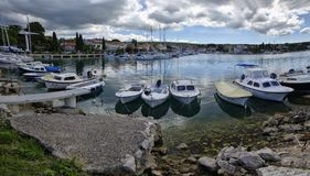 Malinska是解决在克罗地亚和重要t的海岛Krk的西北部分 库存照片