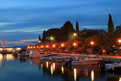 Malinska evening. Hot summer evening in town of Malinska, Island of Krk Stock Images