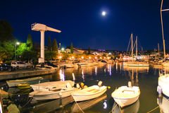 Malinska evening harbor view on Krk island. Croatia Royalty Free Stock Photos