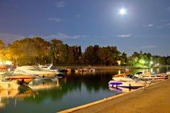 Malinska harbor evening moonlight view Royalty Free Stock Photography