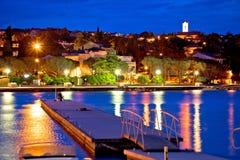 Malinska waterfront blue dawn view. Krk island in Croatia Royalty Free Stock Photography