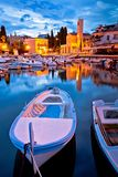 Malinska waterfront and harbor dawn view. Krk island in Croatia Royalty Free Stock Photo