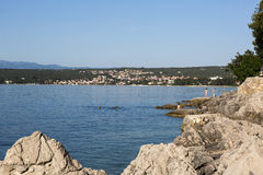 Malinska,海岛Krk,克罗地亚 库存照片