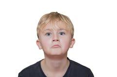 Malinteso, ragazzo su un fondo bianco Immagine Stock Libera da Diritti