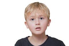 Malinteso, ragazzo su un fondo bianco Fotografia Stock Libera da Diritti