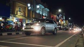 Malioboro gata i Jogjakarta, Indonesien arkivfilmer