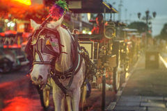Malioboro Street. & x22;Andong& x22; a traditional javanese cart with horse power parking at the side of Malioboro street. This is one of the main transportation Stock Images