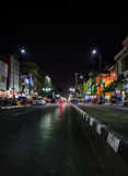Malioboro street. Beautiful scenery from asian city in the night Stock Image