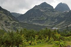 Maliovitza peak and the rest-house Maliovitza. In Rila mountain, Bulgaria Royalty Free Stock Photo