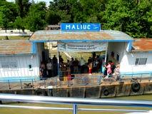 Maliuc, harbor on the Sulina channel on the Danube Delta. Stock Photo
