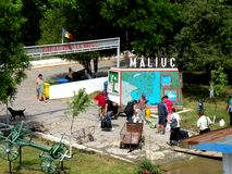 Maliuc, schronienie na Sulina kanale na Danube delcie Zdjęcia Stock