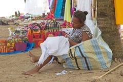 Malkagasy woman sewing, Nosy Be, Madagascar Royalty Free Stock Photos