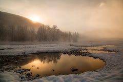Malki hot springs, Kamchatka. Frosty morning. Hot thermal springs. Malki, Kamchatka Royalty Free Stock Photography