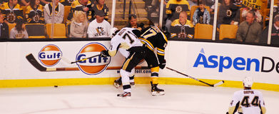 Malkin v. Lucic (Bruins -- Penguins). Evgeni Malkin (71) and Milan Lucic (17) battle against the boards Stock Photography