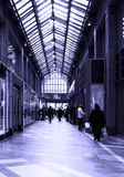 Mall. Picture of a hall way in a shopping mall in blue color Stock Photos