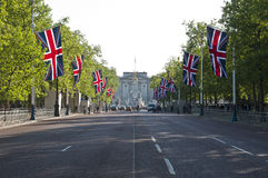 The Mall. LONDON - APRIL 27: The Mall decorated with union flags for Prince William and Catherine Middleton's royal wedding celebration to take place April 29 Stock Photo